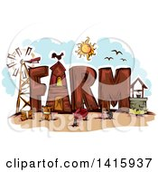 Clipart Of The Word Farm Royalty Free Vector Illustration