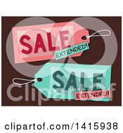 Clipart Of Sale Extended Tags On Brown Royalty Free Vector Illustration