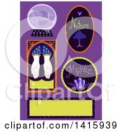 Clipart Of Gypsy Icons Over Purple Royalty Free Vector Illustration by BNP Design Studio
