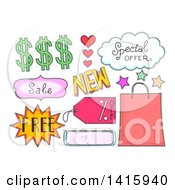 Clipart Of Sketched Sales And Promotion Design Elements Royalty Free Vector Illustration