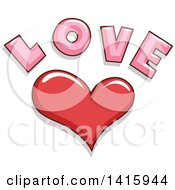 Red Heart And Love Text