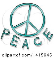 Clipart Of A Peace Symbol And Text Royalty Free Vector Illustration