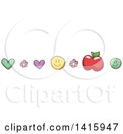 Heart Flower Apple And Smiley Border