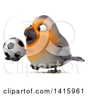 Clipart Of A 3d Red Robin Bird On A White Background Royalty Free Illustration
