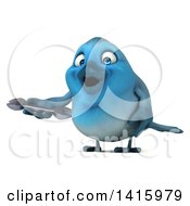 Clipart Of A 3d Blue Bird On A White Background Royalty Free Illustration
