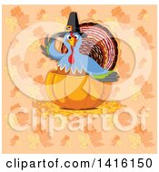 Thanksgiving Turkey Bird Pilgrim In A Pumpkin Over A Background Of Fall Leaves