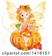 Clipart Of A Cute Red Haired Fairy Girl Sitting With A Teddy Bear On Top Of A Halloween Thanksgiving Or Autumn Pumpkin Royalty Free Vector Illustration