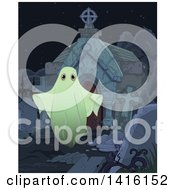 Clipart Of A Spooky Ghost Outside A Tomb In A Cemetery Royalty Free Vector Illustration by Pushkin