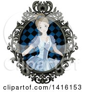 Clipart Of A Halloween Zombie Cinderella Princess In An Ornate Frame Royalty Free Vector Illustration by Pushkin