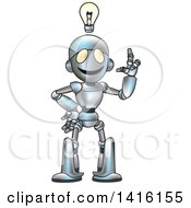 Clipart Of A Cartoon Robot Character With An Idea Royalty Free Vector Illustration