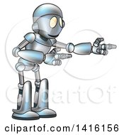 Clipart Of A Cartoon Robot Character Presenting Royalty Free Vector Illustration
