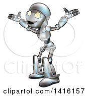 Clipart Of A Cartoon Robot Character Welcoming Or Shrugging Royalty Free Vector Illustration