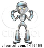 Clipart Of A Cartoon Robot Character In A Rage Royalty Free Vector Illustration