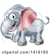 Clipart Of A Cartoon Happy Elephant Royalty Free Vector Illustration by AtStockIllustration