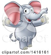 Clipart Of A Cartoon Happy Elephant Welcoming With Open Arms Royalty Free Vector Illustration
