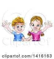 Cartoon Caucasian Brother And Sister Waving