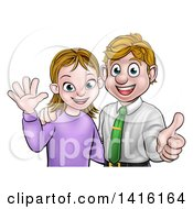 Clipart Of A Cartoon Young Caucasian Couple Waving And Giving A Thumb Up Royalty Free Vector Illustration by AtStockIllustration