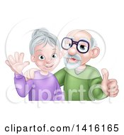 Happy Caucasian Senior Couple Waving And Giving A Thumb Up
