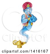 Clipart Of A Friendly Blue Genie Emerging From His Lamp And Pointing At You Royalty Free Vector Illustration by AtStockIllustration