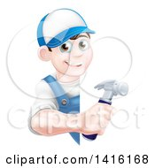 Happy Young Brunette Caucasian Worker Man Holding A Hammer Around A Sign