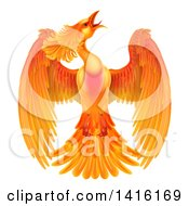 Clipart Of A Flying Fiery Phoenix Bird Royalty Free Vector Illustration by AtStockIllustration