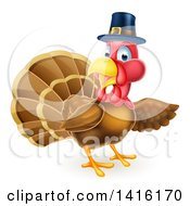 Clipart Of A Thanksgiving Turkey Bird Wearing A Pilgrim Hat And Presenting Royalty Free Vector Illustration