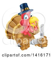 Clipart Of A Thanksgiving Turkey Bird Wearing A Pilgrim Hat And Holding Silverware Royalty Free Vector Illustration
