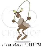 Clipart Of A Cartoon Moose Exercising With A Jump Rope Royalty Free Vector Illustration