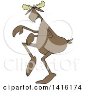 Clipart Of A Cartoon Moose Sneaking Around Royalty Free Vector Illustration