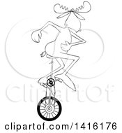 Clipart Of A Cartoon Black And White Lineart Moose Riding A Unicycle Royalty Free Vector Illustration