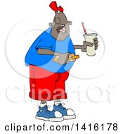 Clipart Of A Cartoon African American Man Shouting Over His Shoulder And Holding A Fountain Soda And Hot Dog Royalty Free Vector Illustration
