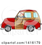 Cartoon Caucasian Man Driving A Red Woody Car