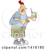 Clipart Of A Cartoon Caucasian Man Shouting Over His Shoulder And Holding A Fountain Soda And Hot Dog Royalty Free Vector Illustration by djart