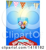 3d Glass With Bingo Balls And Cards Under A Bunting Party Banner On Blue
