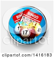 Clipart Of A Circle With 3d Bingo Balls And Cards And A Crown Over Shaded White Royalty Free Vector Illustration by elaineitalia