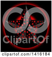 Clipart Of A 3d Black Star With Holes Over A Circle With Glowing Red Light On Black Royalty Free Vector Illustration