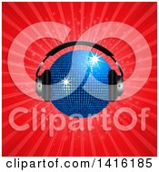Clipart Of A 3d Sparkly Blue Disco Ball Wearing Music Headphones Over A Red Burst Royalty Free Vector Illustration