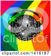 3d Sparkly Black Disco Ball Wearing Music Headphones Over A Rainbow Curve Background