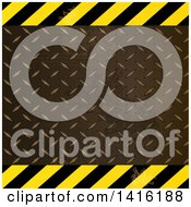 Clipart Of A Hazard Stripes And Diamond Plate Metal Background Royalty Free Vector Illustration