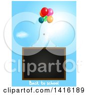 Clipart Of A Black Board With Back To School Text And Party Balloons Floating In The Sky Royalty Free Vector Illustration