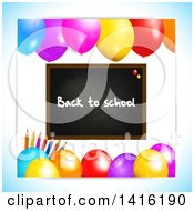 Clipart Of A Black Board With Back To School Text Pencils And Party Balloons Royalty Free Vector Illustration