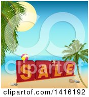 Clipart Of 3d Sale Blocks With A Ball On A Tropical Beach Royalty Free Vector Illustration by elaineitalia