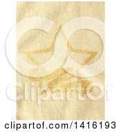 Clipart Of A Golden Star And Banner Over Crumpled Texture Royalty Free Vector Illustration