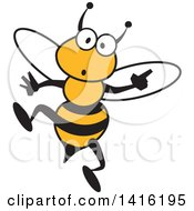 Clipart Of A Cartoon Surprised Bee Royalty Free Vector Illustration