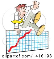 Clipart Of A Cartoon Caucasian Business Man Going Over The Top Of A Graph Success Royalty Free Vector Illustration