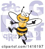Cartoon Bee With Alphabet Letters For A Spelling Bee