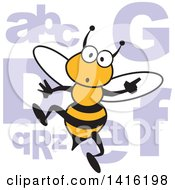 Cartoon Surprised Bee With Alphabet Letters For A Spelling Bee