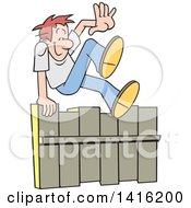 Cartoon Caucasian Man Going Up And Over A Fence