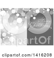 Clipart Of A Grayscale Merry Christmas Greeting And Flare Background Royalty Free Vector Illustration by dero