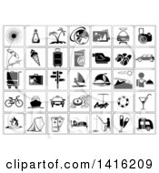 Clipart Of Black And White Square Vacation And Travel Icons Royalty Free Vector Illustration by dero